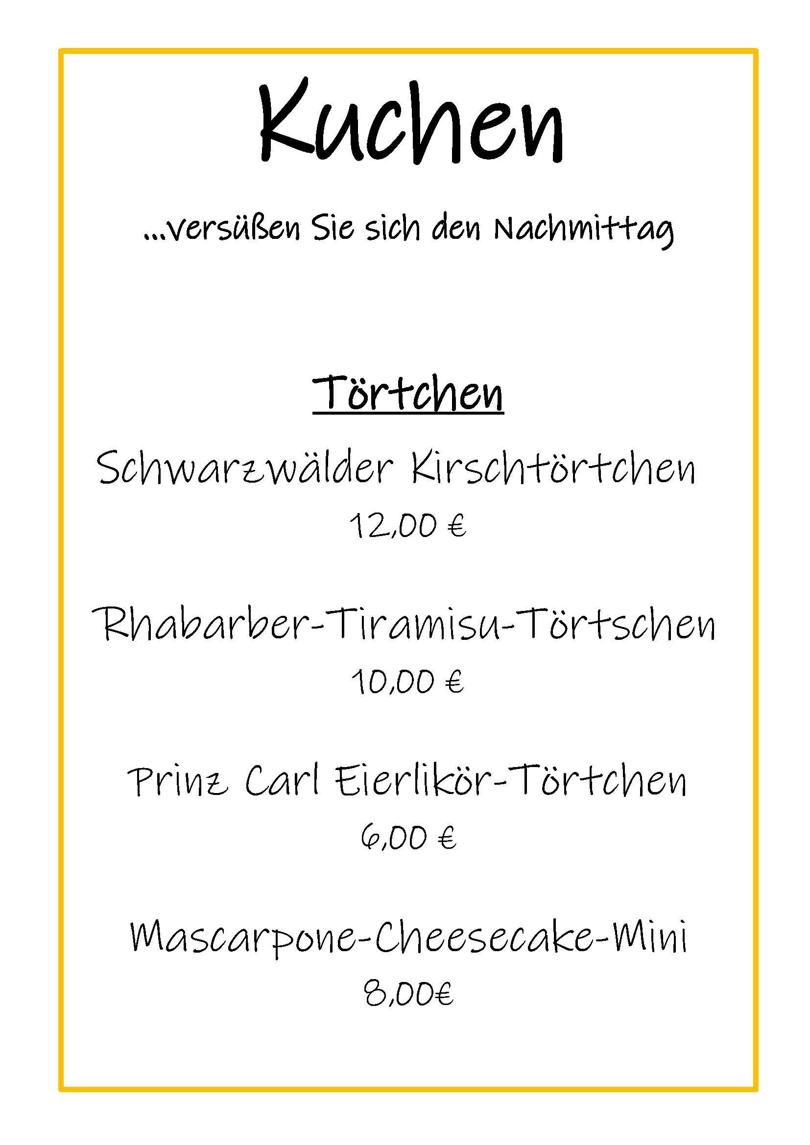 Kuchekarte Prinz Carl