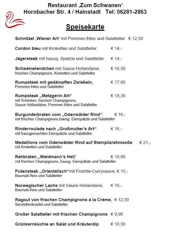 Speisekarte Schwanen Hainstadt
