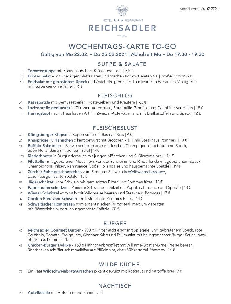 Speisekarte Reichsadler