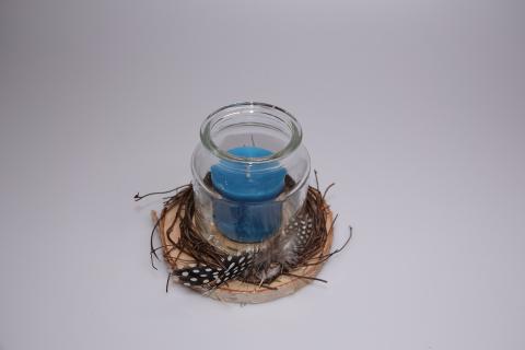 Kerze auf Birkenstamm