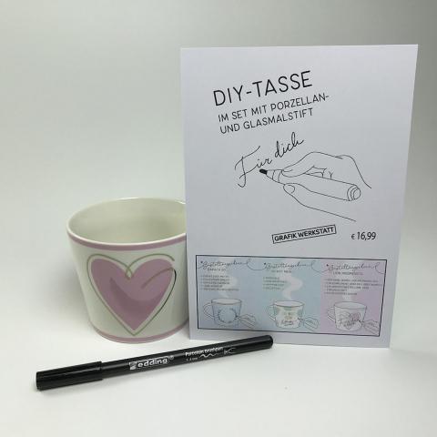 Tasse im Set mit Porzellan- und Glasmalstift